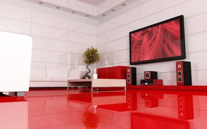 яркий интерьер гостиной в стиле хай тек
