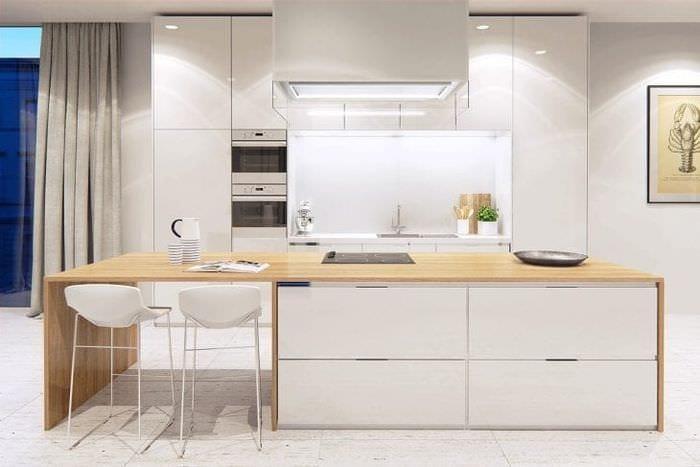 красивый стиль белой кухни с оттенком серого