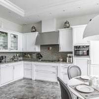 красивый стиль белой кухни с оттенком розового картинка