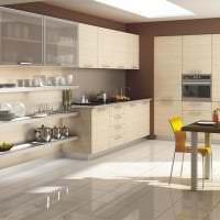 яркий дизайн бежевой кухни в стиле минимализм картинка
