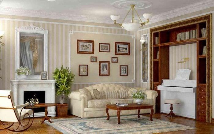 светлый дизайн гостиной в французском стиле