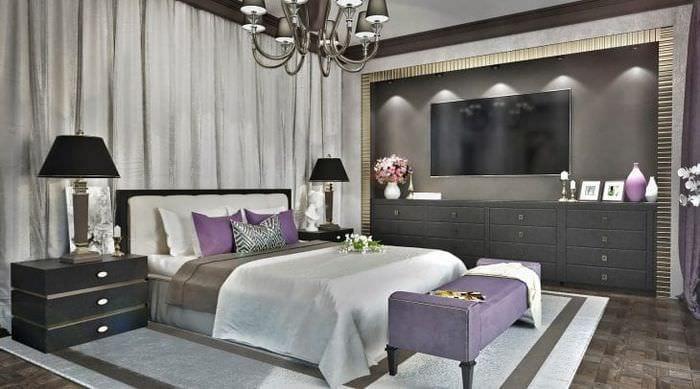 яркий интерьер комнаты в стиле арт деко
