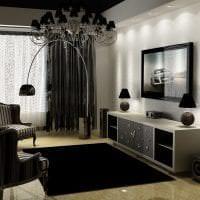 яркий дизайн спальни в черно белом цвете картинка