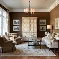 красивый стиль гостиной в шоколадном цвете фото