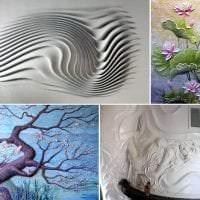 красивый дизайн спальни с барельефом фото