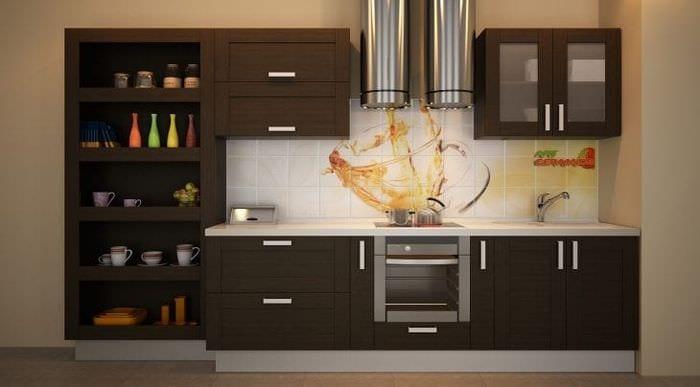 светлый фартук из плитки большого формата с изображением в дизайне кухни