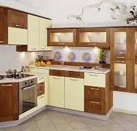 яркий дизайн бежевой кухни в стиле минимализм фото