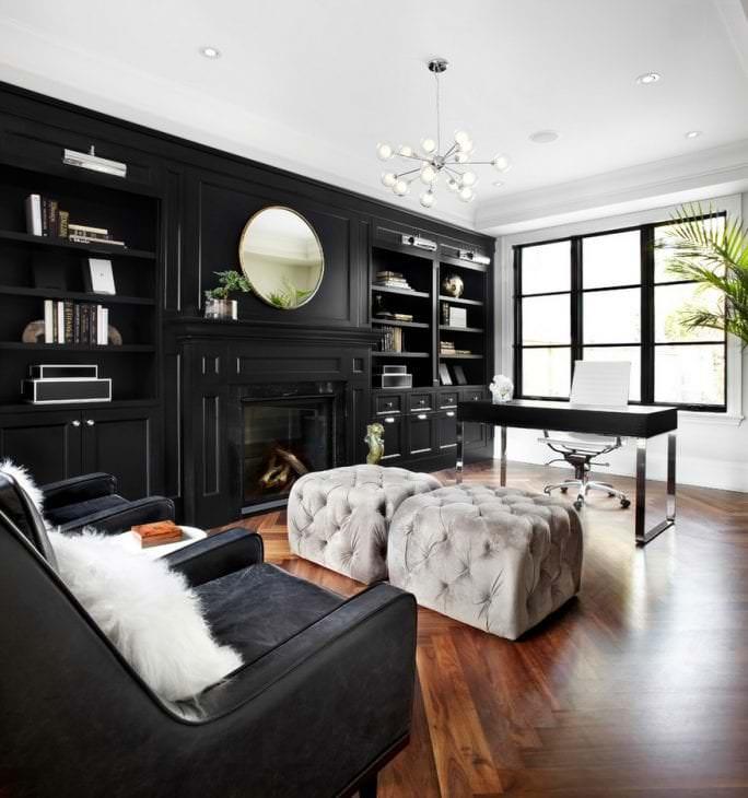 красивый стиль коридора в черном цвете
