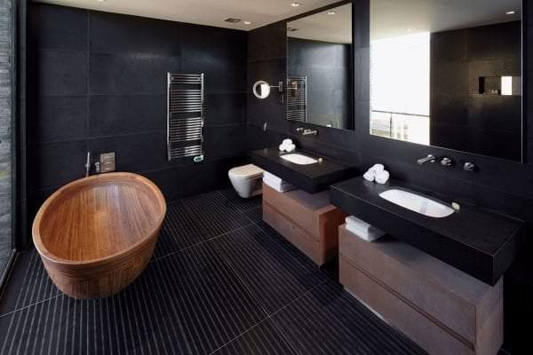 Черная для ванной дизайн