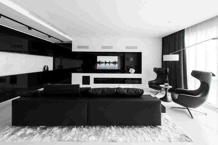 шикарный декор гостиной в черно белом цвете