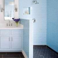 красивый стиль ванной комнаты с душем в светлых тонах картинка