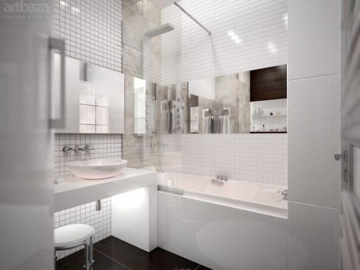 яркий дизайн ванной комнаты с душем в темных тонах
