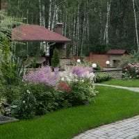 красивый ландшафтный дизайн сада в английском стиле с деревьями картинка