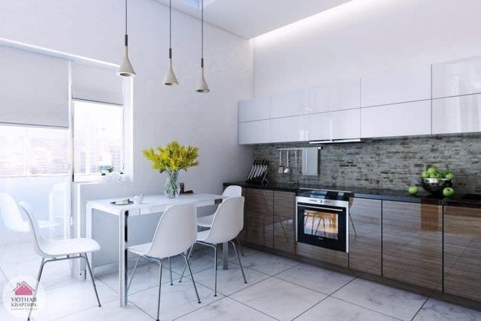 яркий стиль белой кухни с оттенком зеленого