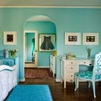 необычный дизайн квартиры в бирюзовом цвете картинка