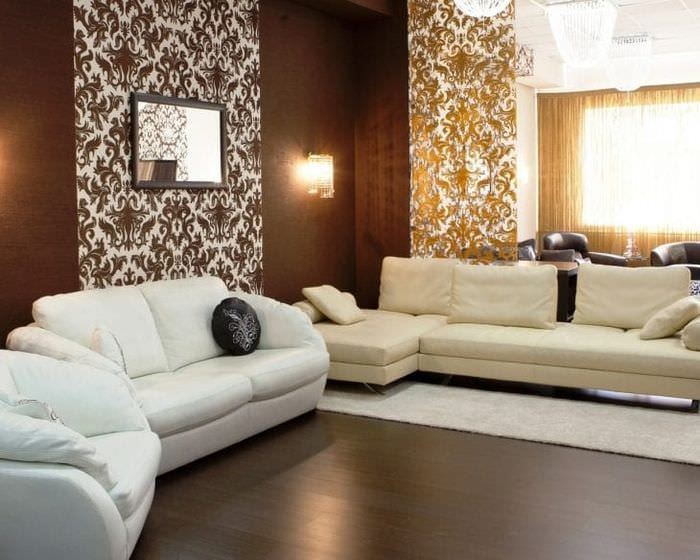 яркий декор гостиной в шоколадном цвете