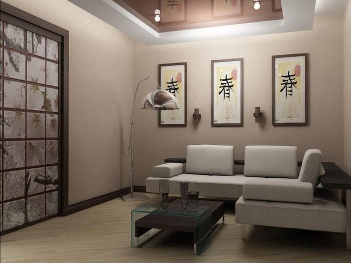 яркий дизайн гостиной в японском стиле