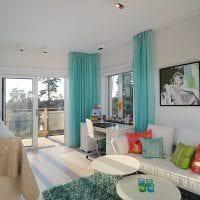красивый стиль коридора в бирюзовом цвете фото