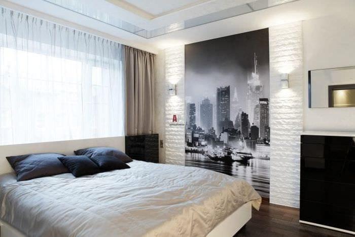 в черно-белом стиле спальня фото
