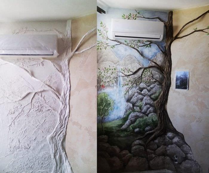 яркий дизайн коридора с барельефом