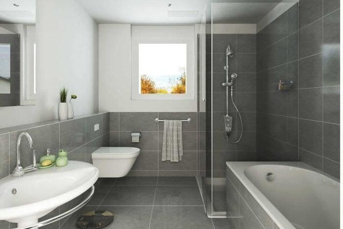 красивый стиль ванной комнаты с душем в ярких тонах