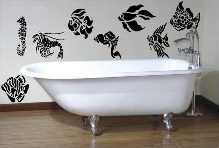 Трафарет своими руками ванной комнаты