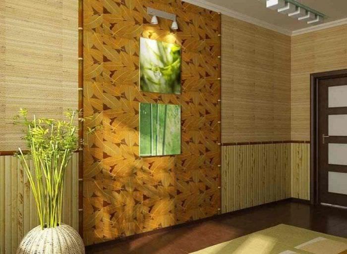 обои с бамбуком в стиле коридора