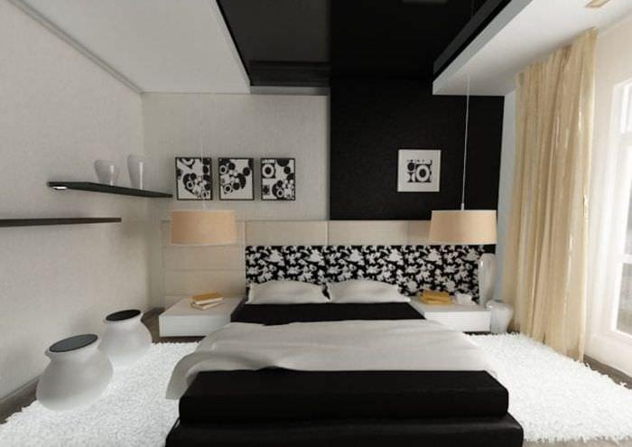 натяжной черный потолок в декоре спальни