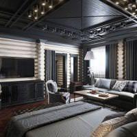 натяжной черный потолок в декоре спальни картинка