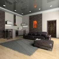 деревянный черный потолок в стиле гостиной картинка