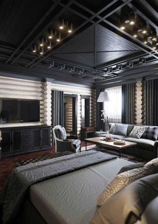 деревянный черный потолок в дизайне спальни