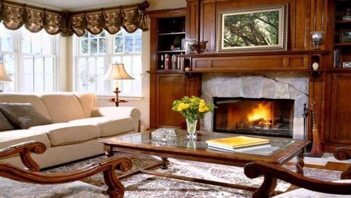 необычный интерьер гостиной в английском стиле