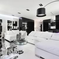 шикарный стиль гостиной в черно белом цвете картинка