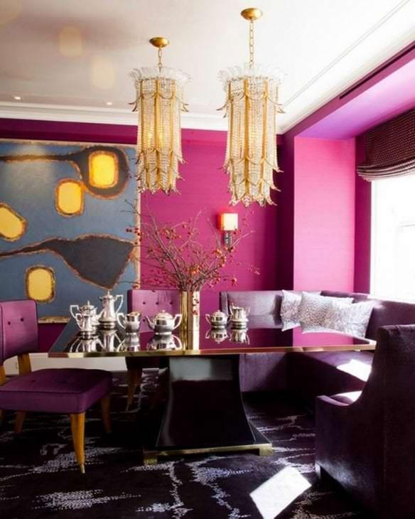 яркий стиль квартиры в цвете фуксия
