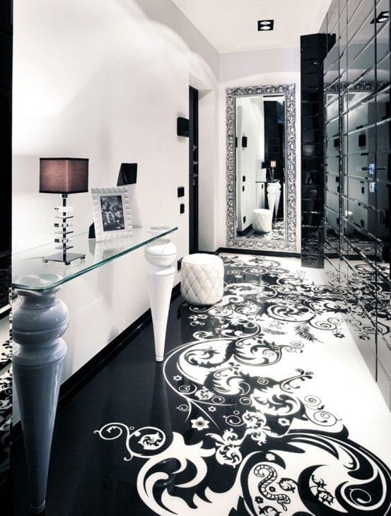 красивый декор коридора в черно белом цвете