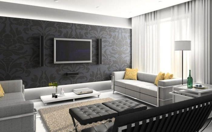 изысканный интерьер квартиры в черном цвете