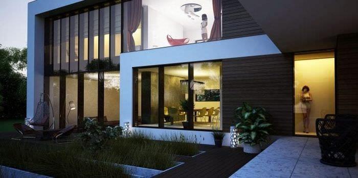 красивый интерьер дачи в архитектурном стиле
