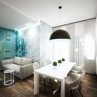 красивый интерьер коридора в бирюзовом цвете картинка