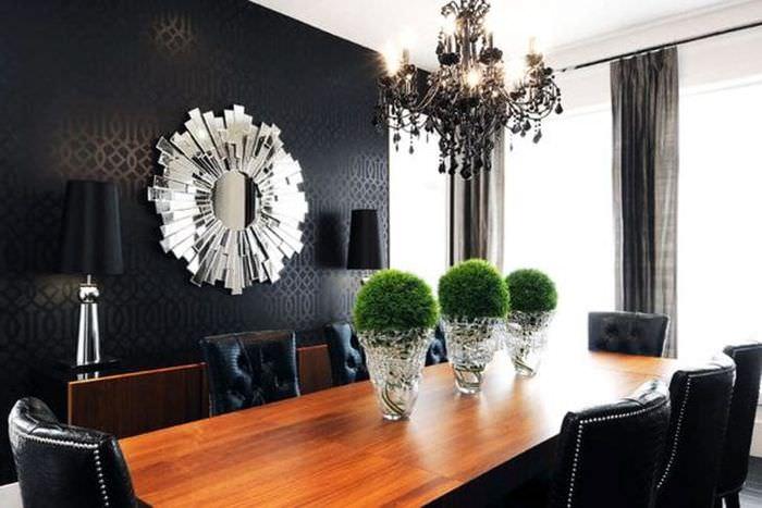 необычный декор комнаты в черном цвете