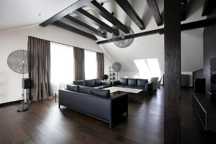 шикарный дизайн гостиной в черно белом цвете