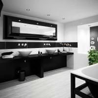 яркий интерьер спальни в черно белом цвете фото