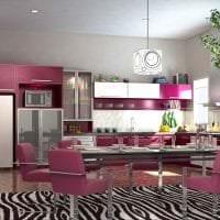 светлый дизайн гостиной в цвете фуксия картинка