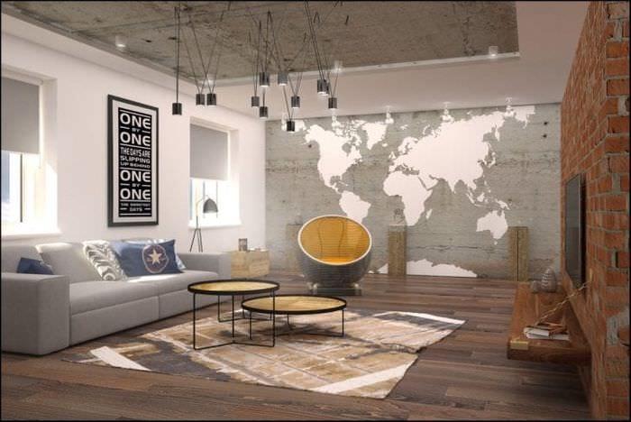 дизайн потолка с бетоном в доме