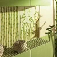 потолок с бамбуком в стиле спальни фото