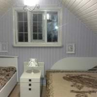 отделка вагонкой светлом интерьере спальни из алюминия