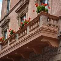 яркие цветы на балконе на перемычках интерьер картинка