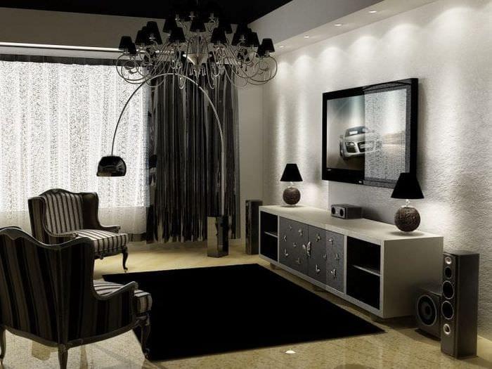 необычный дизайн гостиной в черно белом цвете