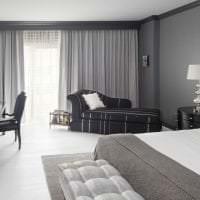 необычный интерьер спальни в черно белом цвете картинка