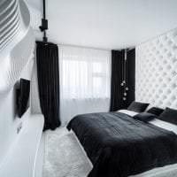 яркий декор гостиной в черно белом цвете фото