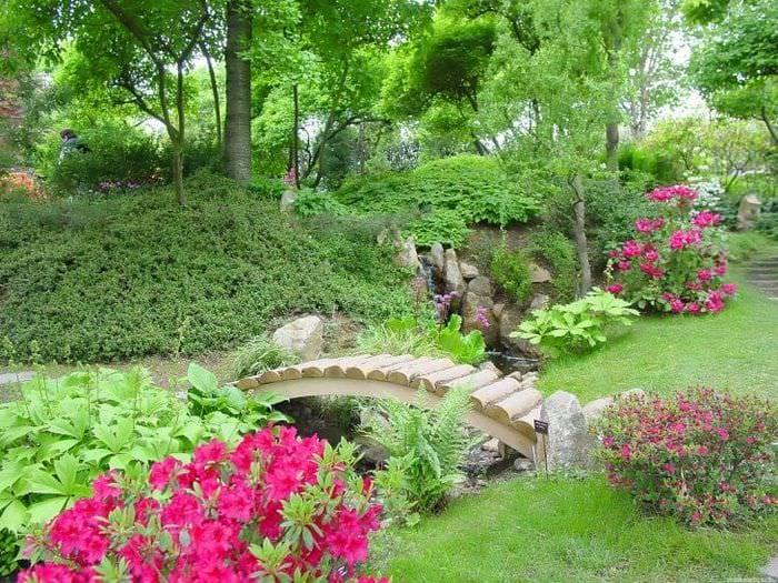 красивый ландшафтный дизайн сада в английском стиле с цветами
